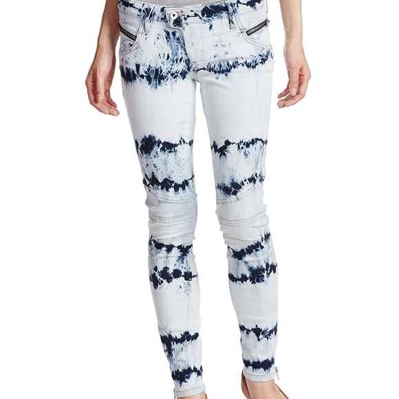 GUESS! NEW LOW RISE BIKER SKINNY MARBLE WASH JEANS NWT